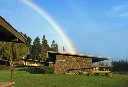 A rainbow over an upper campus building at HPA