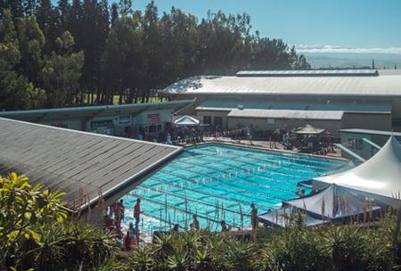 Herbert M. and Laura N. Dowsett Pool, upper school campus at HPA