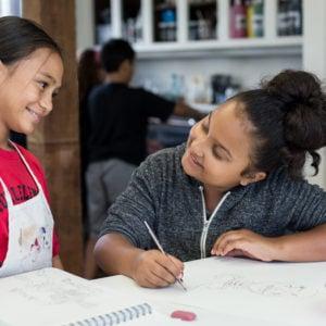 Encouraging each other, Lower School art room