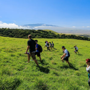 Students climb the pu'u