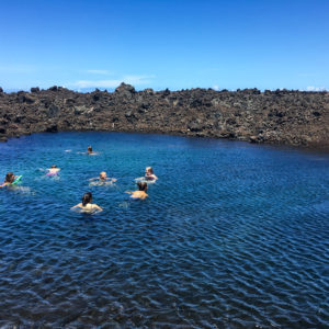 Mid-hike dip in a cold brackish pond along the North Kona Coast. Kīholo Bay, 2017