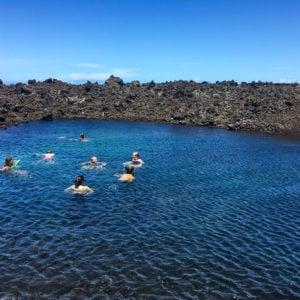 Mid-hike dip in a cold brackish pond along the North Kona Coast. Kīholo Bay, 2017
