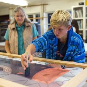 Batik and silk paining, Middle School art room