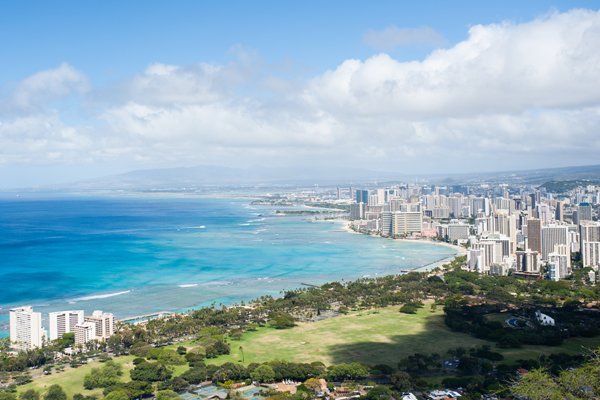 Honolulu, view of Waikiki from Diamond head